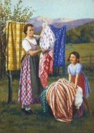 farbige Werbe-AK: Mutter und Tochter hängen Wäsche auf
