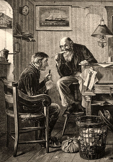 Holzstich: Agent auf hochgedrehtem Hocker am Schreibpult sitzend redet mit gezückter Schreibfeder auf älteren Kunden ein - 1883