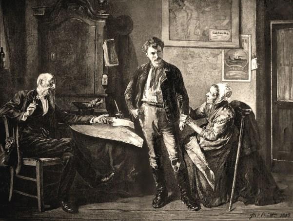 Holzstich: zentral stehender junger Mann wir von links sitzendem rauchenden Agenten beraten und von rechts sitzender alter Frau am Arm festgehalten - 1889