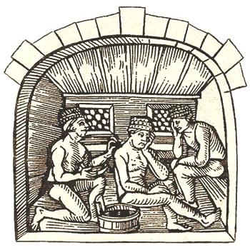 Holzschnitt: zwei Badegäste lassen sich behandeln - 15. Jh