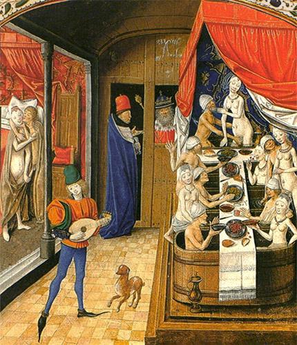 kolorierter Kupferstich: König sieht sich ein Badehaus an