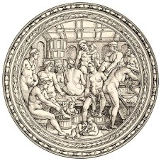 Kupferstich (rund): Frauen und Kinder beim Haarewaschen, Fußbad u.ä. - 1530