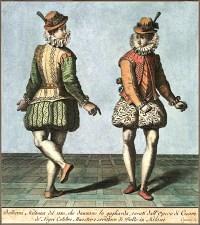 kolorierter Kupferstich: zwei Tänzer in interessanten Kostümen