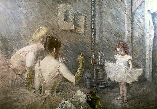 Gemälde: kleines Mädchen im Tutu wird von zwei Ballerinen belehrt