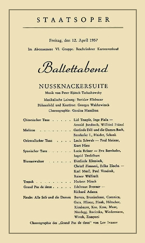 Flyer für einen Ballettabend der Staatsoper