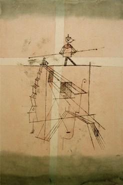 farbige Künstlerkarte: Mann mit Balancierstange auf hohem Seil - 1923