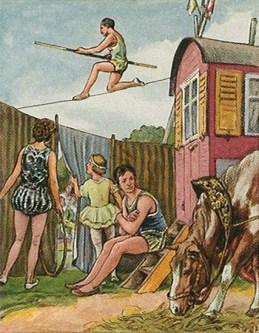 Farbzeichnung: hinter Vorhang warten Akrobaten, Zirkuswagen und Pferd; darüber Seilläufer mit Stange