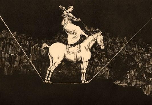 Federzeichnung: Seiltänzerin mit Pferd auf dem Seil balancierend