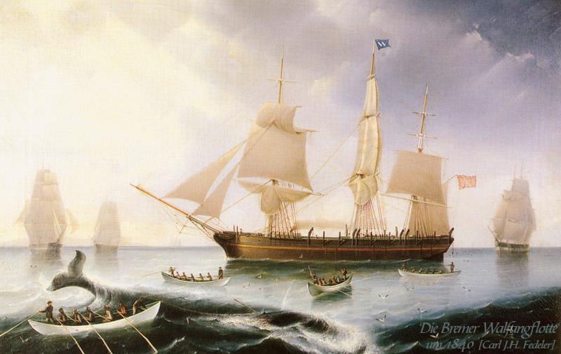 Gemälde: Wal wir von Booten her harpuniert, Segelschiffe im Hintergrund