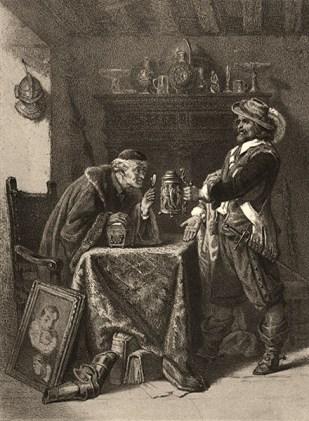 Aquatinta: Händler begutachtet mit einer Lupe einen von Kunden gehaltenen verzierten Deckelkrug - 1860