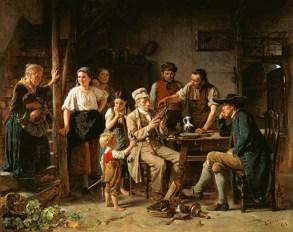 Gemälde: In einer Dorfschenke zeigen mehrere Leute einem Händler ihre antiken Schätze - 1865