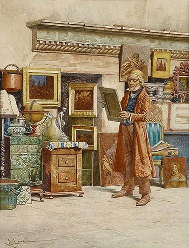 Aquarell: Zwischen Antiquitäten stehender Händler in seinem Laden - 19. Jh