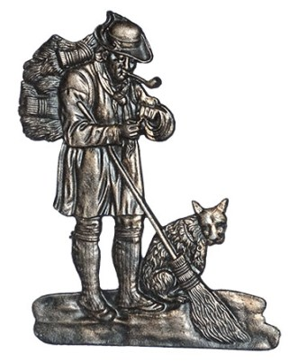 Reliefbild: Besenbinder mit Hund