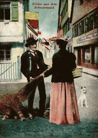 kolorierte AK: Frau interessiert sich für die Besen eines Straßenverkäufers