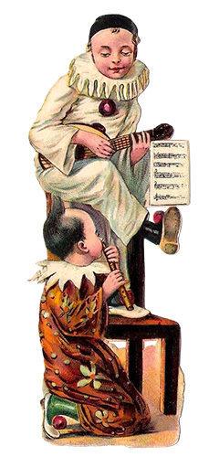 Glanzbild: BanjoCLOWN oben auf Stuhllehne sitzend, FlötenCLOWN am Boden kniend