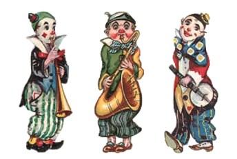 Glanzbilder: drei musizierende Clowns