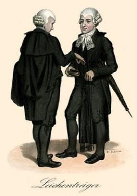 kolorierte Litho: zwei Reitendiener im Gescpräch - 1843