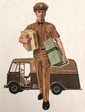 Farbdruck: Paketzusteller von 'UPS' vor Auslieferwagen