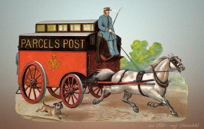 Oblatenbild: Paket-Postwagen von weißem Pferd gezogen und vom Boten kutschiert