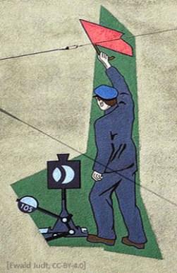 farbiges Wanbild: Bahnwärter mit erhobener Flagge neben Weichenhebel