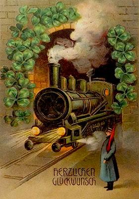 gemalte Karte: Bahnwart mit Flagge vor Tunnel, aus dem Dampflok kommt