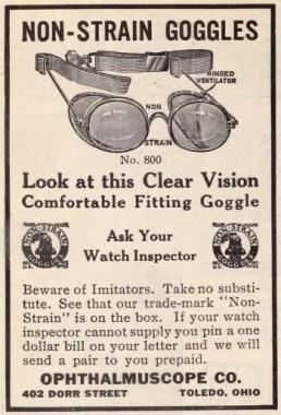 alte Brillenwerbung aus einem amerikanischen Magazin