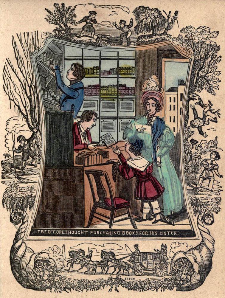 altes Bild: Mutter und Sohn gehen in einen Buchladen