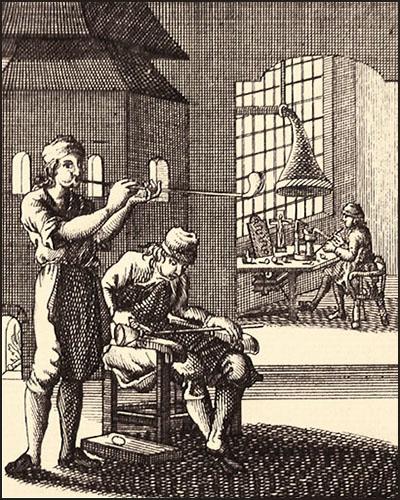 Kupferstich: drei Männer bei verschiedene Arbeitsschritten des Glasblasens