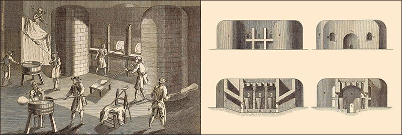 Kupferstich: Arbeitszene am Hafenofen sowie schematische Ansichten und Querschnitte des Ofens