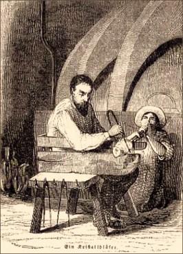 Holzstich: zwei gemeinsam arbeitende Kristallbläser - 1847