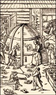 Zeichnung: emsiges Treiben in einer Glasbläserei