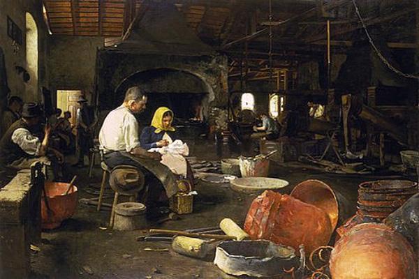 Gemälde: in großer Halle zwischen Werkzeugen und halbfertigen Kesseln bei einer Brotzeit sitzende Arbeiter - Slowakei, 1915