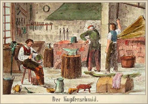 Farblitho: drei arbeitende Männer in einer Kupferschmiede