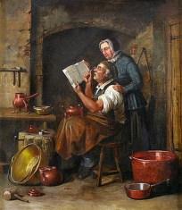 Gemälde: an seinem Arbeitsplatz sitzender Kupferschmied liest mit Monokel in einem Buch, das von hinter ihm stehender Frau gehalten wird