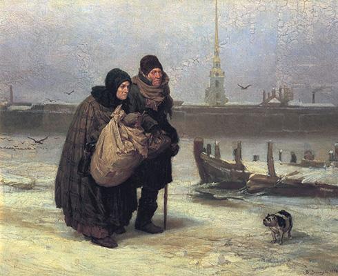 Gemälde: Lumpensammlerpaar im Winter - 1876