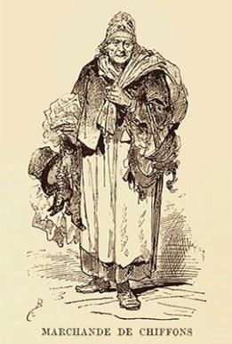 Holzstich: Lumpenhändlerin - 1878, Frankreich