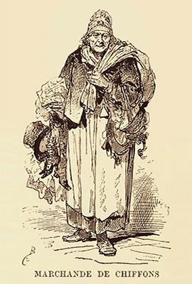 Holzstich: alte Lumpenhändlerin - 1878