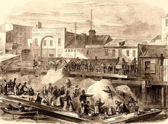 Kupferstich: viele arme Leute durchsuchen Abfallberg - 1860, NY