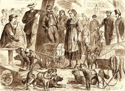 Holzstich: Lumpensammler in Polizeigewahrsam - 1870