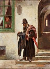 Gemälde: Altkleidersammler vor Wohnhaus
