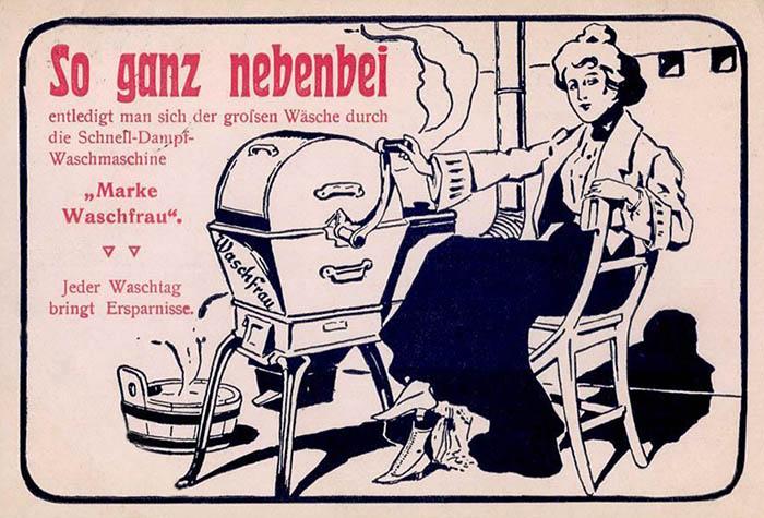 Reklame für damals moderne Waschmaschine mit Kurbel