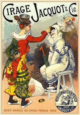 Plakat: Clown wird mit schwarzer Schuhwichse geschminkt