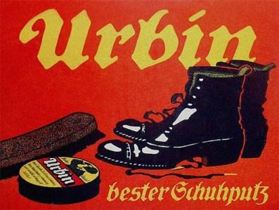 Werbekleinplakat: Schuhe, Schuhwichse und Polierbürste