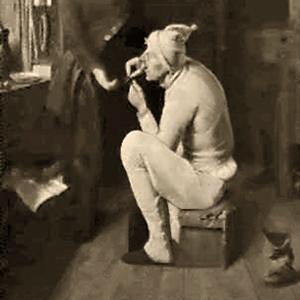 sw Gemäldefoto: auf Kiste sitzender Kleiderflicker näht an Hose eines vor ihm stehenden Mannes - 1833