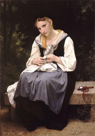 Gemälde: 'Junge Arbeitende' auf einer Gartenbank beim Wäscheflicken - 1869