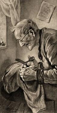 Litho: alter Mann mit Schere schneidet ein Stück Kleidung