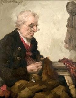 Gemälde: Flickschneider flickt ein Kleidungsstück mit Nadel und Faden - 1915