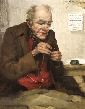 Gemälde: gealterter Flickschneider beim Einfädeln eines Fadens - 1930