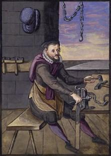 farbige Buchmalerei: Kettenschmidt fügt am Schraubstock Kettenglieder zusammen - 1637