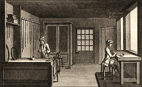 Kupferstich: zwei Kettenmacher bei Feinarbeiten